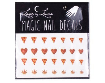 Pizza Nail Decals / Food Nail Decals / Pizza Slice Nail Decals / Pizza Nails / Junk Food Nail Decals / Weed Nail Decals / Weed Leaf Nails