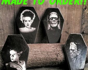 Frankenstein's Monster and Bride of Frankenstein Coffin Coasters MADE TO ORDER