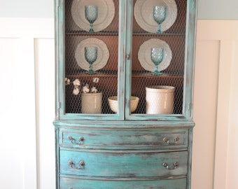 SOLD!!!   China Hutch French Country Shabby Chic Vintage China Cabinet Chalk Painted
