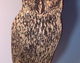 Beautiful and Modern Wooden Owl Pyrography and Painting!  Owl Art. Owl Pyrography. Owl Painting. Hand-made.