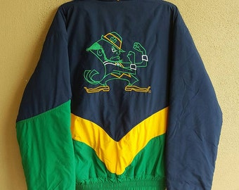 Notre Dame Fighting Irish Tri-Color Jacket Size L MADE IN USA