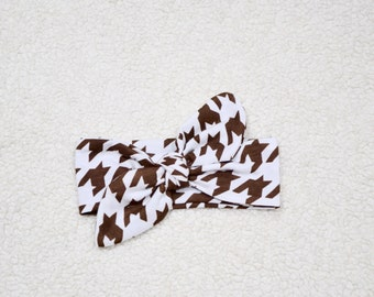 SALE --- Carafe Brown Houndsfooth Cotton Jersey, Top Knot Headband, Newborn Knot Hadband, Cotton Knit, Baby Gift