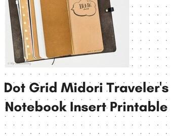 Dot Grid Journal - Instant Download - Travelers Notebook - Printable Insert - Dot Grid Notebook - Graph Paper PDF - Notebook Insert