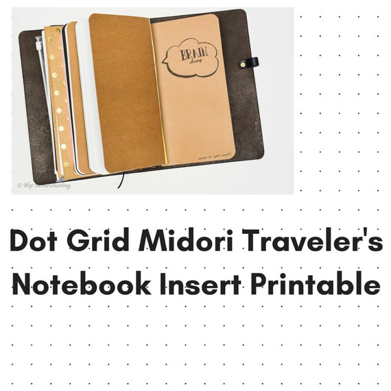 Dot Calendar Bullet Journal : Dot grid journal instant download travelers notebook