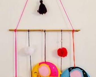 Felt elephant mobile. room decoration. colorful elephants. colorful wool tassels. bamboo stick.