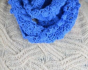 soft blue hand crocheted infinity bobble scarf versatile, textural, many seasons