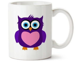 Coffee Mug, Completely Customizable Owl Mug, Cute Owl, Choose Your Colors, Tea Mug, Permanent Ink, Custom Mug