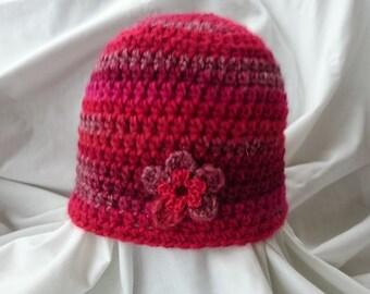 Cloche hat, Red hat, Beanie Hat, wool hat, winter hat