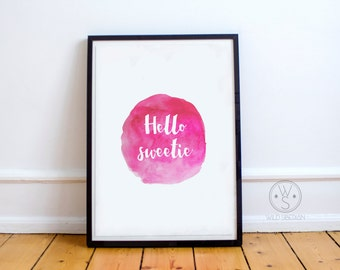 Hello sweetie printable watercolor artwork