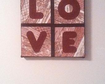 Love Sign Valentines Day Decor Burlap Handmade