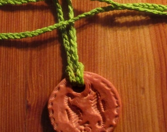 Handmade, terracotta, clay, Seahorse, essential oil, diffuser, green braided, bamboo - rope, necklace