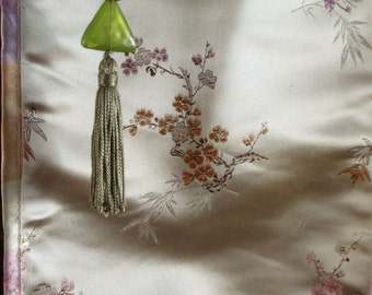 Curtains, Japanese, Beige, Silk, Print, Green Glass Beads, Wood Beads, Green Tassels, Two window sets, or, one double window
