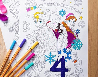 personalized frozen coloring page printable birthday party activity birthday diy gift pdf jpeg