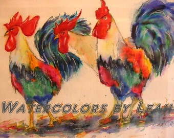 Parade in the Barnyard, roosters, rooster watercolor, rooster painting, animal art, barnyard animal, Gallus, Gallus domesticus, chicken,bird