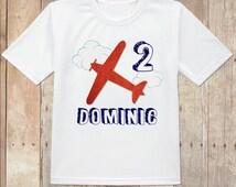 Airplane birthday shirt, classic airplane birthday, custom airplane shirt, red airplane shirt, personalized plane birthday shirt