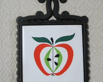 Apple Trivet, Cast Iron with Ceramic Tile Insert, Japan, Vintage