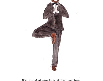 Yoga print Henry David Thoreau quote, tree pose, Thoreau art quote, yoga teacher, Thoreau art, Thoreau inspirational quote