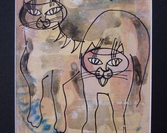OOAK painting-Watercolour-Watercolour-home decoration cat cat-cat lover gift idea-watercolor-mixed media