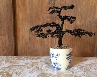 Miniature Fine-wired Bonsai Tree Sculpture in Willow-Pattern Ceramic Pot