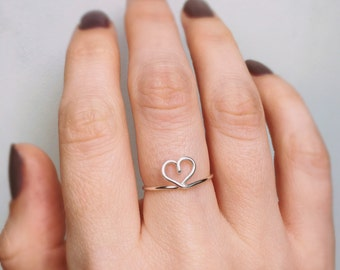 Sterling Silver Heart Ring, Heart ring, Silver ring, Silver heart ring, Wire ring, Love ring, Bridesmaids ring, Stackable ring, Gift