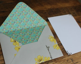 Note cards Stationery set, letter writing set, thank you cards, RSVP, handmade grey envelopes,yellow flowers, gift for her, 1st anniversary