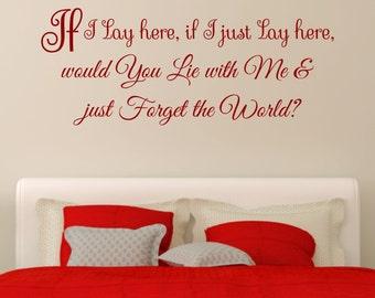 If I Lay Here Snow Patrol Music Lyrics Romantic Vinyl Wall Art Sticker Decal Bedroom