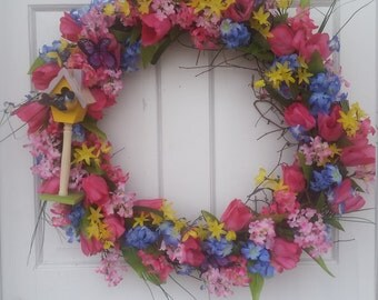 24 inch spring  or summer birdhouse wreath