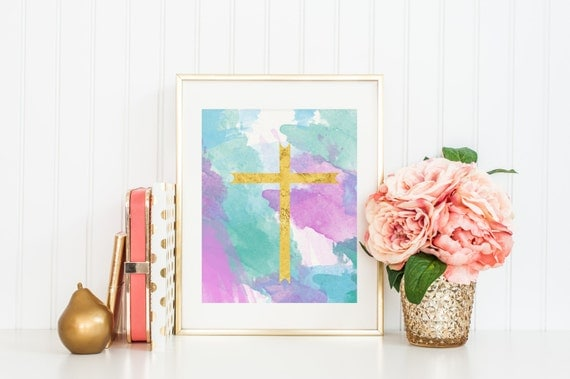 Gold Cross Wall Art Printable Home Decor Pastel by
