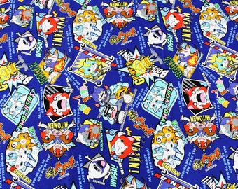 "Yokai Watch Character Fabric made in Japan, FQ 45cm by 53cm or 18"" by 21"""