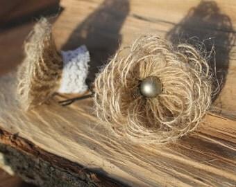 Hand-made hessian hair pins - natural