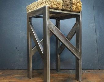 Industrial barstool with barnwood beam top
