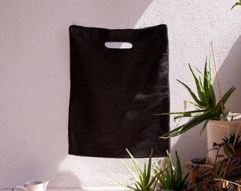 Plastic - black lamb leather bag, leather bag, Ledershopper