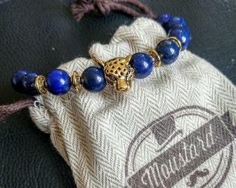 Natural Stone bead bracelet, men cheetah bead bracelets, bloodstone bracelets, cheetah stone bead bracelet, Gift for men, men's gift