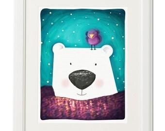 Bear print, Nursery decor, Instant download Art print, Digital download, Bird illustration, Polar bear art, Home decor, Printable wall art