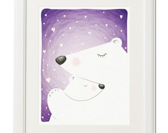 Bear love-Digital illustration-Winter decor-Polar bear-Baby-Download-Nursery-Animal drawing-Original art-Christmas-Gift-Print