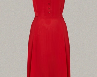 40's 'Dorothy' Dress Inspired Swing Dress in Red print by The Seamstress of Bloomsbury