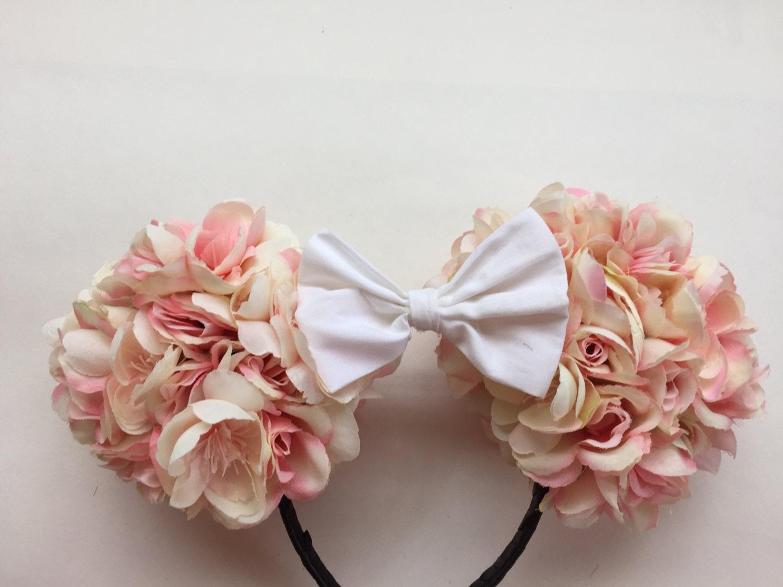rose disney minnie ears floral disney ears by happilyeveraftears