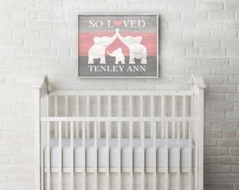 Elephant Nursery Decor, Custom Baby Name Wall Art, Elephant Baby Shower Gift, Nursery Name Sign Personalized Baby Girl Nursery DIGITAL PRINT