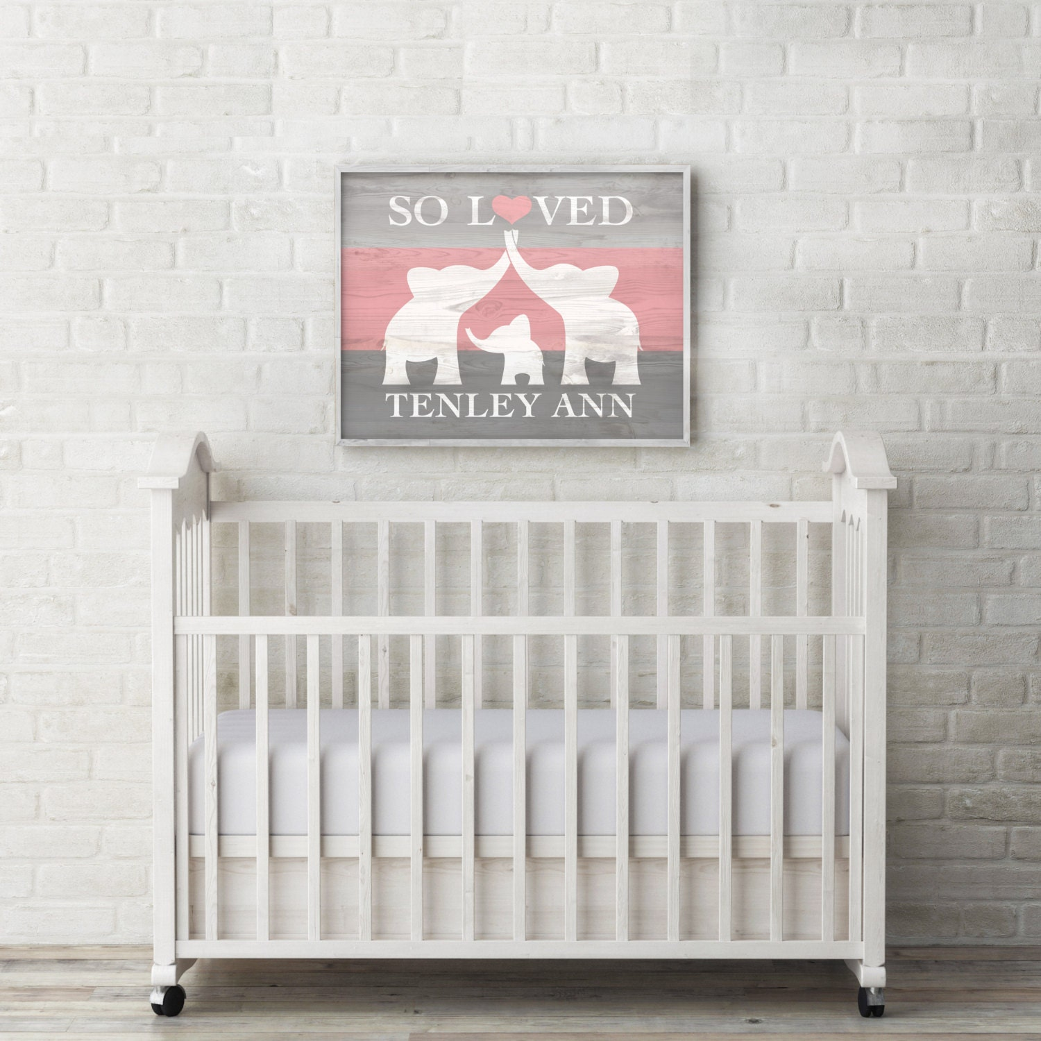 elephant nursery decor custom baby name wall art elephant