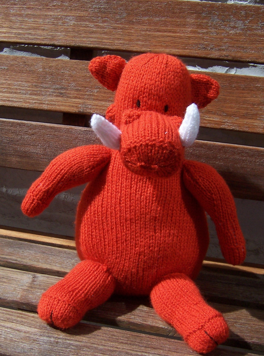 Hand Knitted Toys : Hand knitted handmade warthog stuffed toy