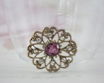 Vintage Filigree Brooch - Floral Rhinestone Brooch - Faux Amethyst Brooch - Purple Glass Brooch