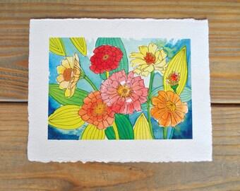 Original Watercolor painting of Zinnias, floral watercolor, watercolor flowers, watercolor and ink art, nursery decor