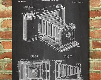 Antique Camera Decor, Vintage Camera Art Retro Camera Wall Art, Camera Gift, Vintage Photography Decor, Folding Kodak Camera Poster P085