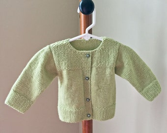 Handknit baby cardigan light green machine washable approx 12 mo acrylic