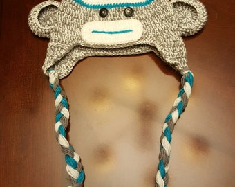 Blue Sock Monkey knit hat