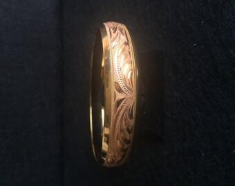 Wide Engraved 14 K Gold Overlay