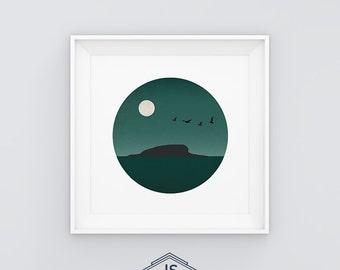 Minimal Landscape - Sunset island. Printable digital illustration. Birds. Moon
