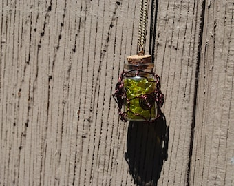 Neon Yellow Dyed Snakeskin in a Jar Necklace