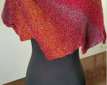 Hand Made, Hand Knit Red/Rust/Orange/Silver Wingspan Shawl, Shawlette, Women's Accessory
