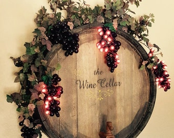 Wine Barrel Lighted Wall Hanging  - - Variations in materials may apply